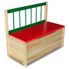 Panca di legno con scompartimento per bambini