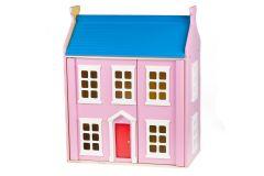 Casa delle Bambole Rosa in Legno Accessoriata