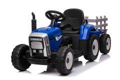 Trattore e rimorchio elettrico 12V per bambini Azzurro