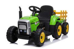 Trattore e rimorchio elettrico 12V per bambini Verde